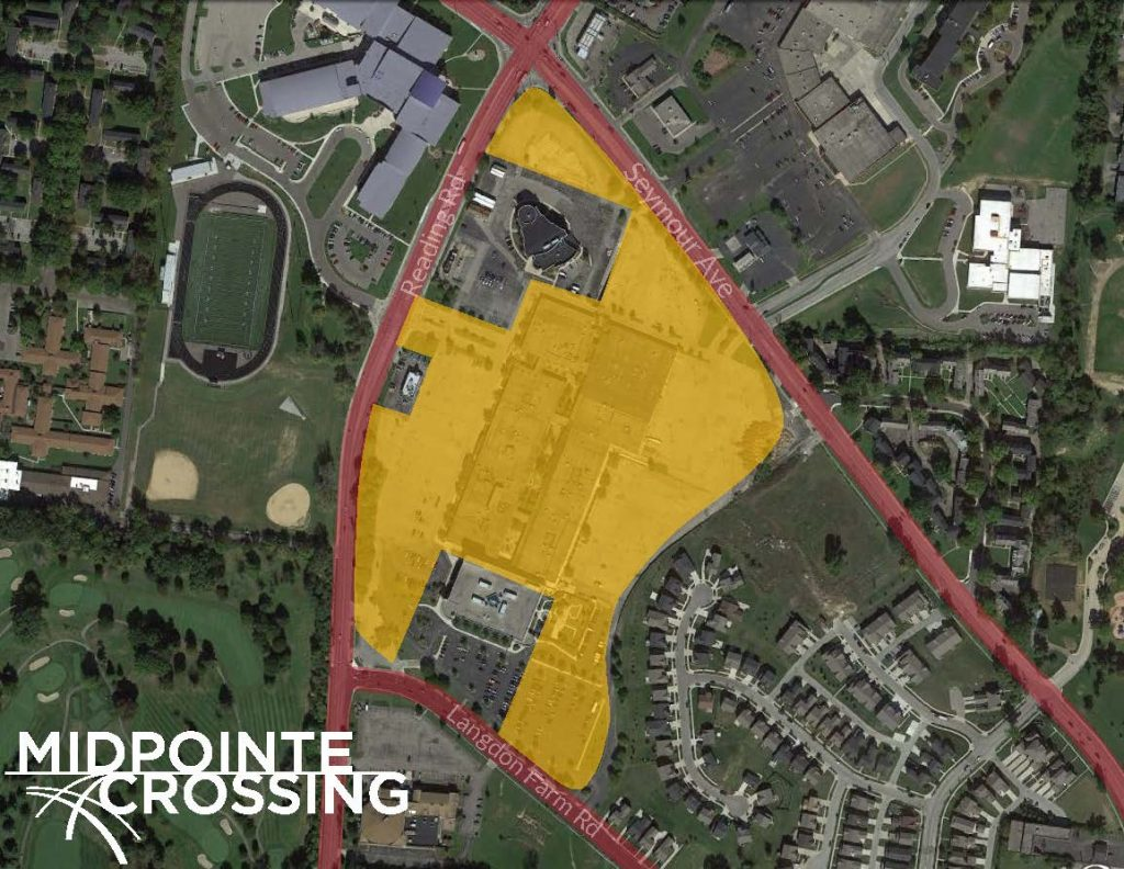 Aerial view of the MidPointe Crossing site in Bond Hill at the intersection of Reading and Section