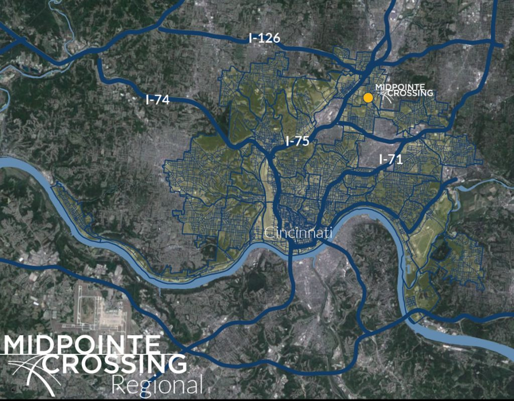 Regional map showing MidPointe Crossing in context to Interstates, and downtown Cincinnati