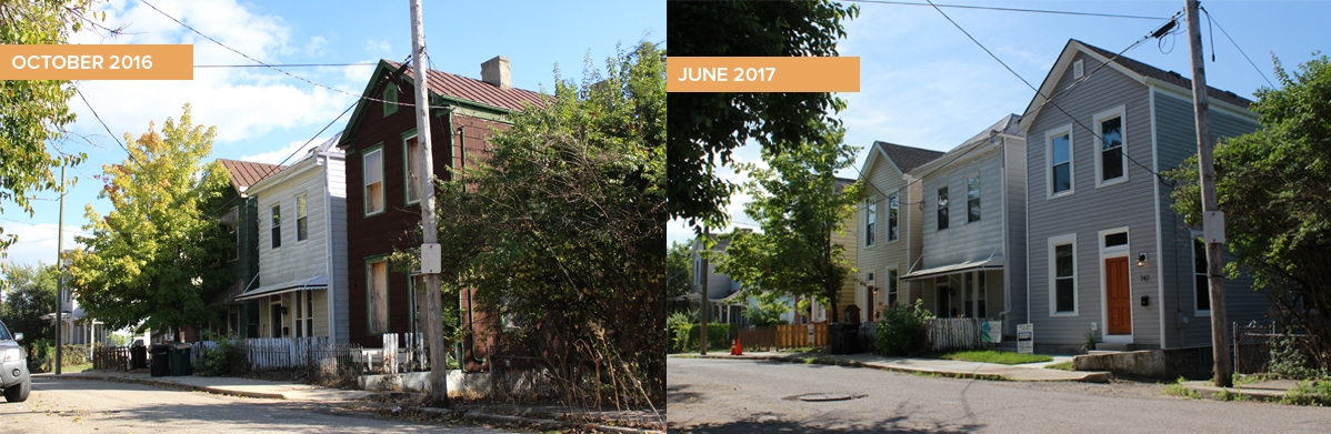 REACH Walnut Hills - Morgan Street rehabs before and after